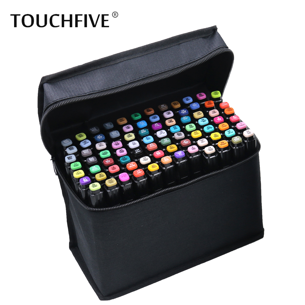 Touchfive 36/48/60/72 Colors Artist Double Headed Marker Set Oily Alcoholic Sketch Art Markers Pen For Animation Manga Design sta 128 colors double headed sketch alcohol drawing marker pen 24 36 48 60 72 set animation common paint sketch art marker