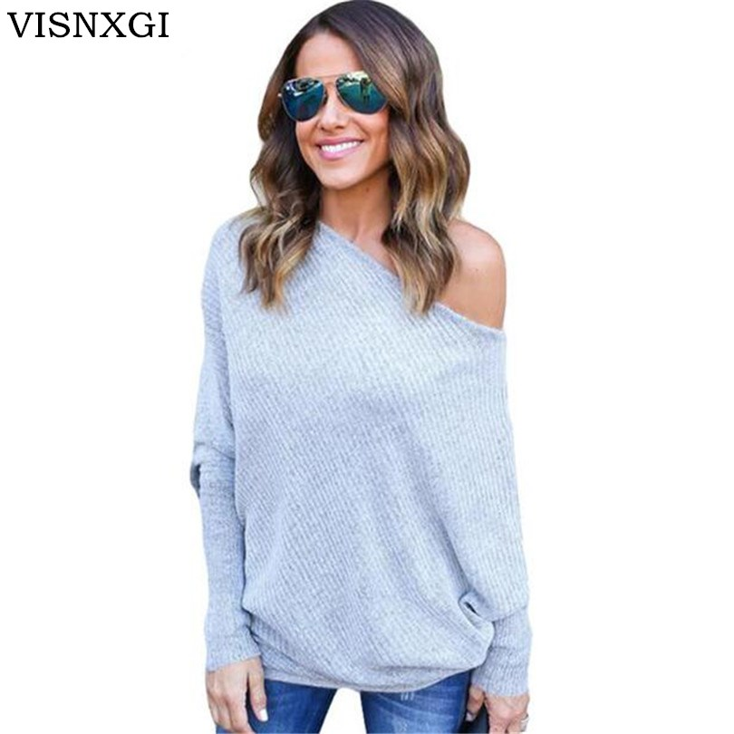 VISNXGI Sexy Off Shoulder Knitted Sweater Women Black Pullovers Knitwear Autumn Winter 2020 White Elastic Basic S-5XL Sweaters