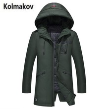 KOLMAKOV 2017 new winter high quality men's fashion letter printed hooded down jacket,50% white duck down coats long warm parkas