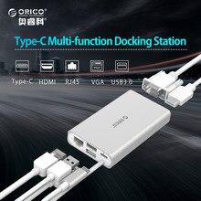 ORICO USB-C 5-in-1 USB C Hub con Entrega de Potencia de Tipo C 4 K vídeo HD de Red RJ45 HUB Convertidor HUB USB para MacBook Pro Tipo-c