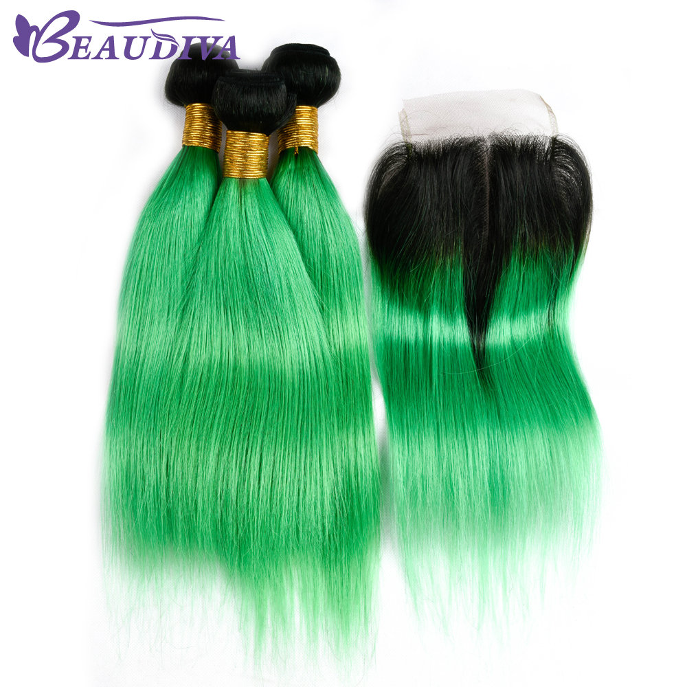 BEAUDIVA Pre-Colored Human Hair Bundles With Closure Brazilian Hair Straight 3 Bundles Lace Closure Dark Root Green Ombre