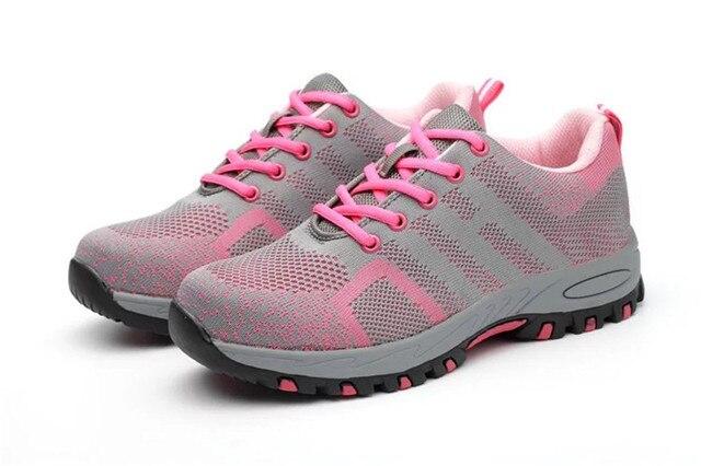 DEWBEST Thép Không Gỉ Mũi Giày Nữ Mùa Hè Lưới Thoáng Khí Đâm Thủng Chống Tác Phẩm Khởi Động Bảo Vệ Giày An Toàn Giày Sneaker nữ tính