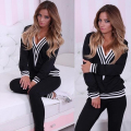 New Polyester Women's Winter Suits Tracksuit Set Sweater Hoodie Casual Sweatsuit Gray Black Pullover Top+Pants 2 Piece Set XL