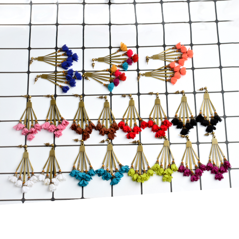 Vintage Flower Earrings For Women Multicolor Cloth Flower Alloy Dangles Accessories Ethnic Geometry Drop Earrings Jewelry Gift