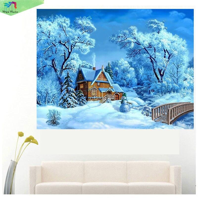 Full Drill, Diamond Embroidery, Diamond Mosaic, Snow Landscape,Diamond Painting, Beads Pasted Cross Stitch Kit, Home Decor RT668