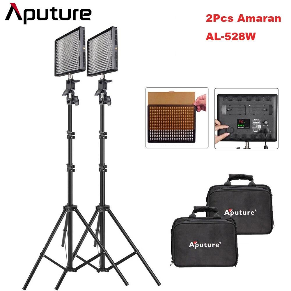 2 pcs/lot Aputure Amaran AL-528W CRI95 + 528 pcs LED Vidéo Éclairage Photographique Kit avec 2 m Lumière Stand pour appareil Photo REFLEX NUMÉRIQUE