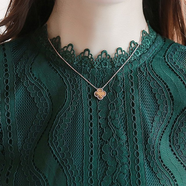 Women Tops Fashion Green Lace Blouse