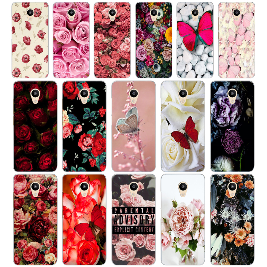 Transparent Cover Roses Case For 247DF On White Butterfly M3 Note Meizu M2 Flower U10
