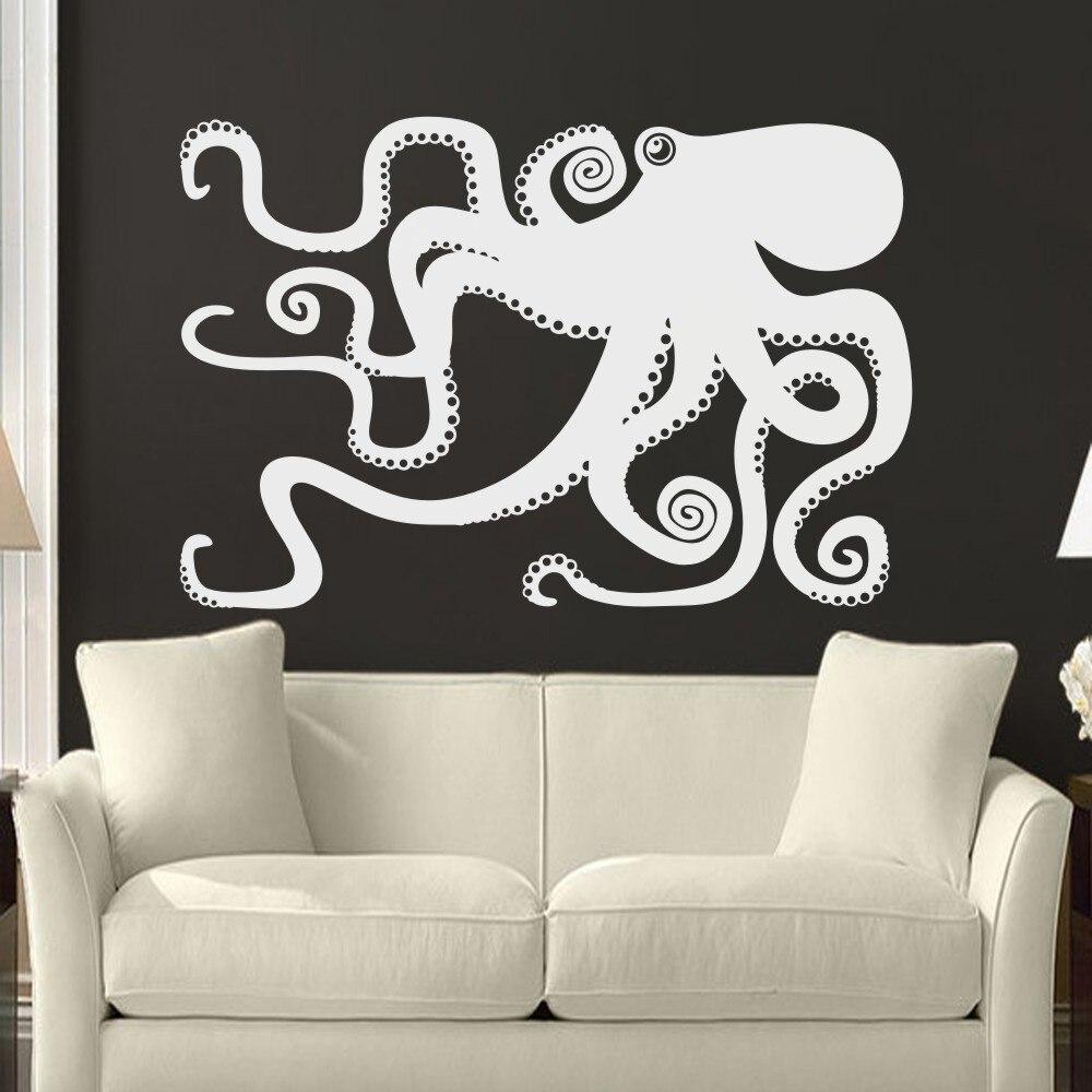 Bathroom wall art sea - Large Octopus Decal Ocean Wall Decor Sea Octopus Wall Art Bathroom Bedroom Living Room Sticker 173cm