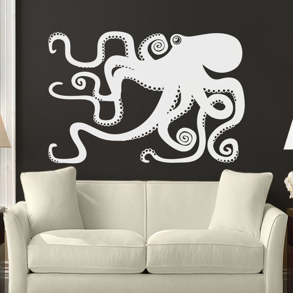 Bathroom wall art sea - Large Octopus Decal Ocean Wall Decor Sea Octopus Wall Art Bathroom Bedroom Living Room Sticker 173cm