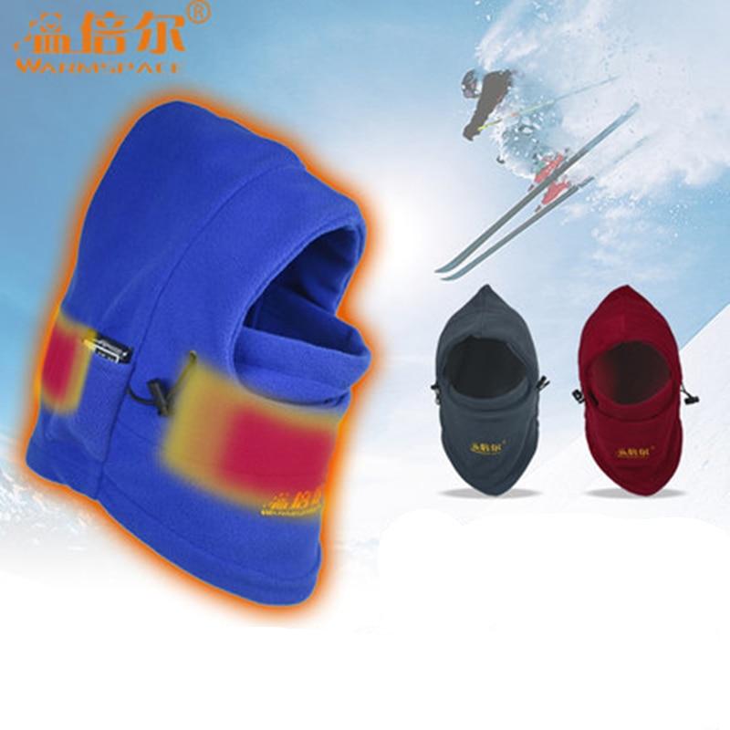 Sports d'hiver coupe-vent ski chapeaux hommes femmes mode chaud collier USB charge chauffage charge casque froid épaissi chaleur