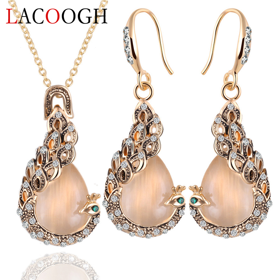 Lacoogh New Trendy Retro Jewelry Sets for Women Alloy Rhinestone Costume jewelery sets Fashion Party Jewelry Necklace&Earrings