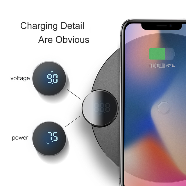 Baseus LED Display Wireless Charger For iPhone X Xs Max Xr 8 Plus Fast Wireless Phone Charger For Samsung S10 S9 S8 Xiaomi MI9 3