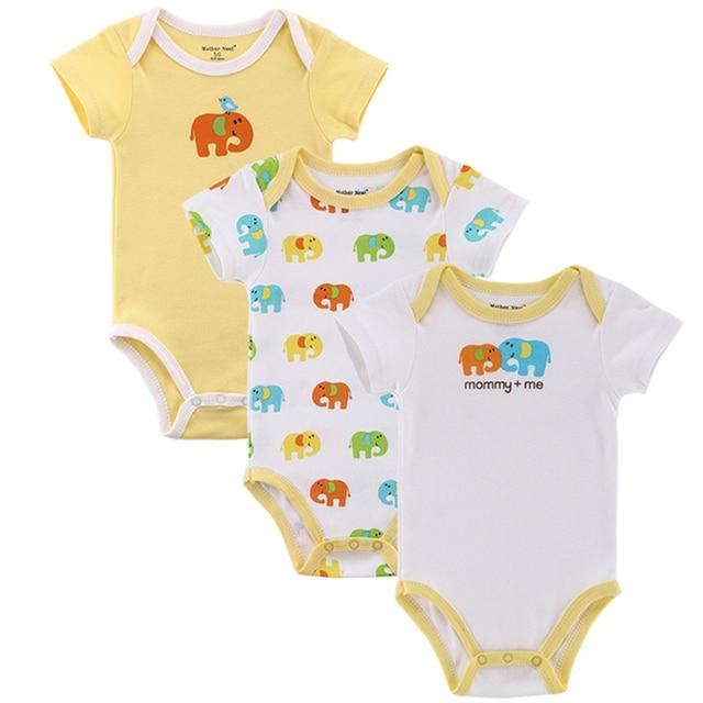 Madre Nest 3 unids/lote Fantasia Baby Bodysuit Infante Overall traje de cuerpo de manga corta ropa de bebé conjunto de algodón de verano