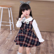 2017 Berymond New Children Girls Princess Dress Kids Party Dress Girls Clothing grid Casual Dress Girl Clothes Plaid Dersses Top
