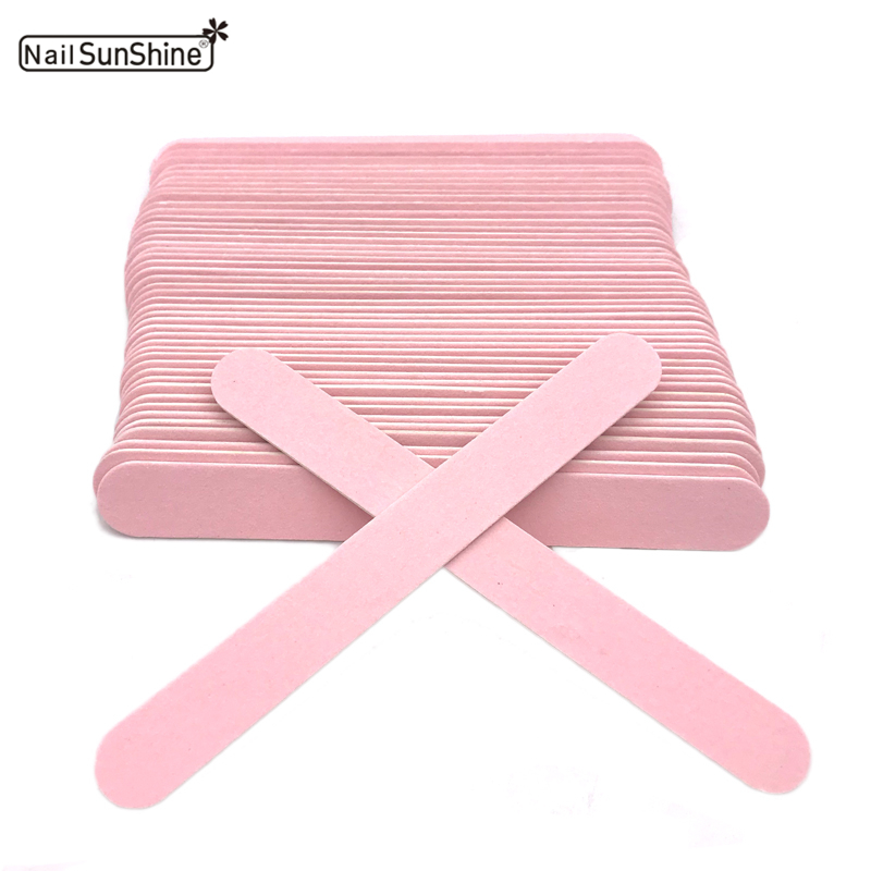 50pcs Thick Wood Nail Files Artificial Nail Tips File 240/240 Disposable Cuticle Remover Pink Nail Art Styling Tool Beauty Salon