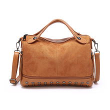 Fashion Women Top-handle Bags with Rivets High Quality Leather Female Shoulder Bag Large Vintage Motorcycle Suede Tote Bags