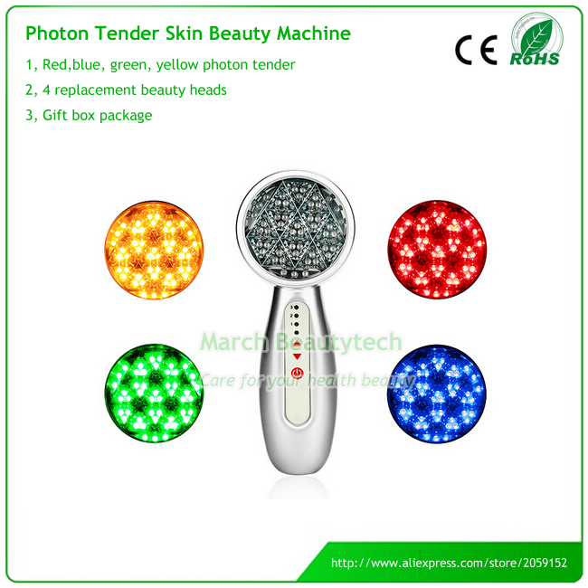 4 in 1 Skin Whitening Tightening Anti-acne Wrinkle Removal Green Blue Red Yellow Led Lights Photon Therapy Facial Beauty Device bio wave red blue yellow green led photon light skin therapy whitening tightening acne treatment facial beauty massager machine