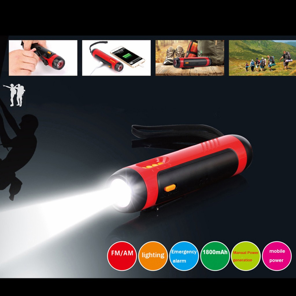 Alarm FM Radio Mobile Phone Charging Hand-operated Powerful Generate LED Torch 3