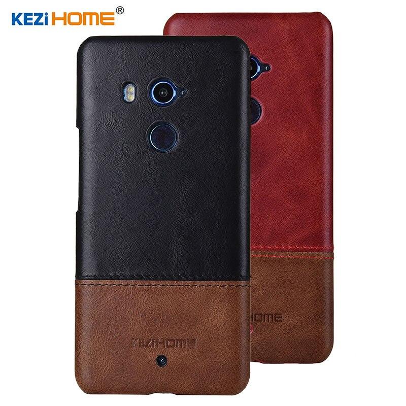 Case for HTC U11 Plus KEZiHOME Luxury Hit Color Genuine Leather Hard Back Cover capa For HTC U11 Plus U11+ 6.0 Phone cases