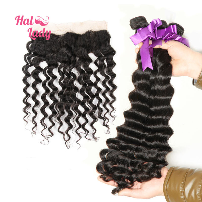 7A Halo Lady Hair 3 or 4 Bundles Peruvian Loose Deep Wave Human Hair Weaves With Loose Deep Lace Frontal Closure (13x4)