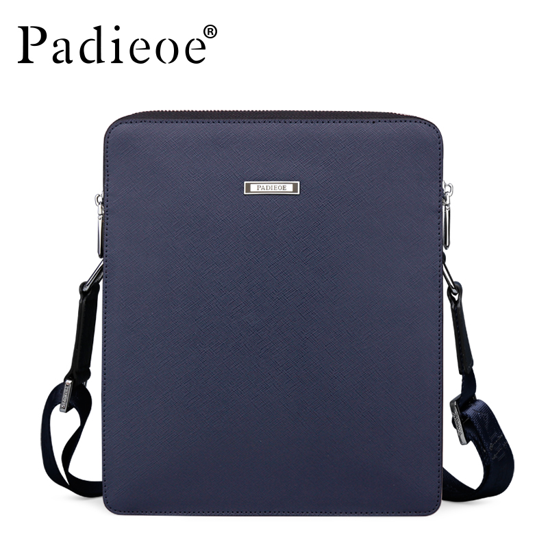 Padieoe New Men Genuine Leather Shoulder Bags Business Casual Messenger Bag High Quality Luxury Designer Cowhide Crossbody Bags padieoe men s genuine leather briefcase famous brand business cowhide leather men messenger bag casual handbags shoulder bags