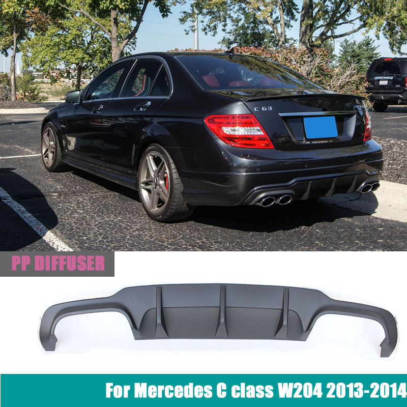 Mercedes W204 C63 AMG style plastic PP rear bumper diffuser for 2012 - 2014 benz C180 C200 C280 C300 mercedes w205 carbon fiber bumper canards for benz c class w205 with amg package c63 amg 2015 c180 c200 c250 splitter canards