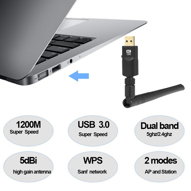 Hot Sale] 1200Mbps Wireless WIFI Adapter USB3 0 Dual Band
