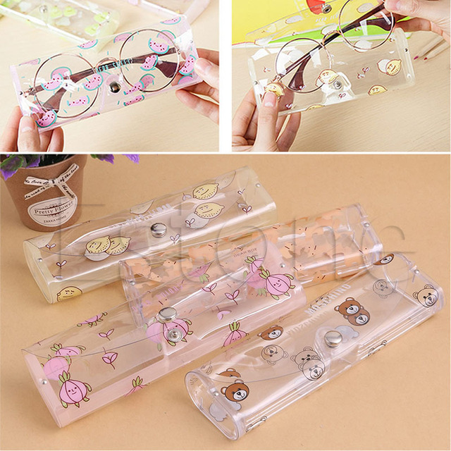 1691578682b Hot Plastic Transparent Clear Crystal Eyeglass Glasses Spectacle Case Box  Holder