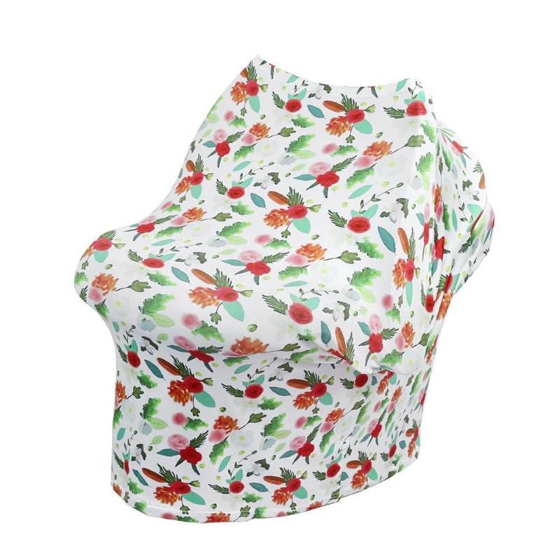 2 colors Floral Towel Baby Car Seat Cover Breastfeeding Shopping Cart Cover Multi-Use Stretchy Scarf Canopy Nursing Cover
