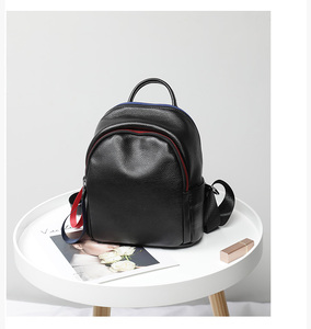 Image 3 - 2019 Blue Red Chain Design Real Leather Women Bagpack Youth Girl Korean Fashion Soft Leather Cowhide Small Backpack Rugzak