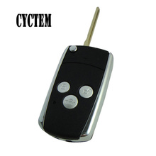 CYCTEM Car Key Shell Fob Case Replacement Left 3 Buttons Modified Flip Folding Remote Cover Fit For Toyota Camry