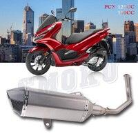 Мотоцикл мото скутер Нержавеющаясталь углеродного волокна глушитель выхлопной Escape трубы для Honda PCX 125 150 PCX125 PCX150