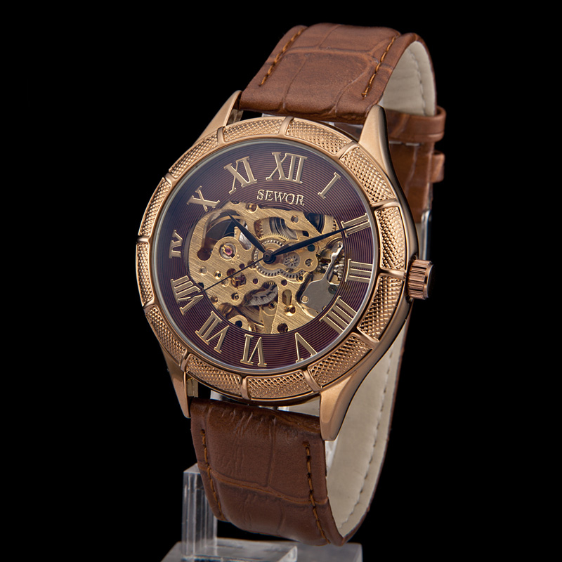 SEWOR New Skeleton Transparent Men Mechanical Hand Wind Leather Watch Band Women Dress Wrist Watches Army Military Watch C793