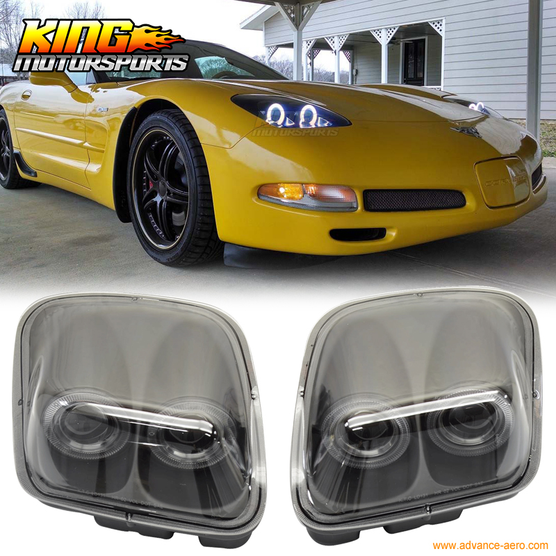 for 1997 2004 chevy corvette c5 headlights projector lamp black dual led halo rims usa domestic. Black Bedroom Furniture Sets. Home Design Ideas