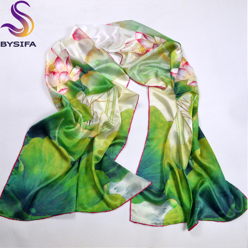 Green Lotus   Scarves   Shawl 100% Pure Silk Fashion Female Long   Scarf     Wraps   Hot Sale Silk   Scarf   Printed For Winter Autumn 178*52cm