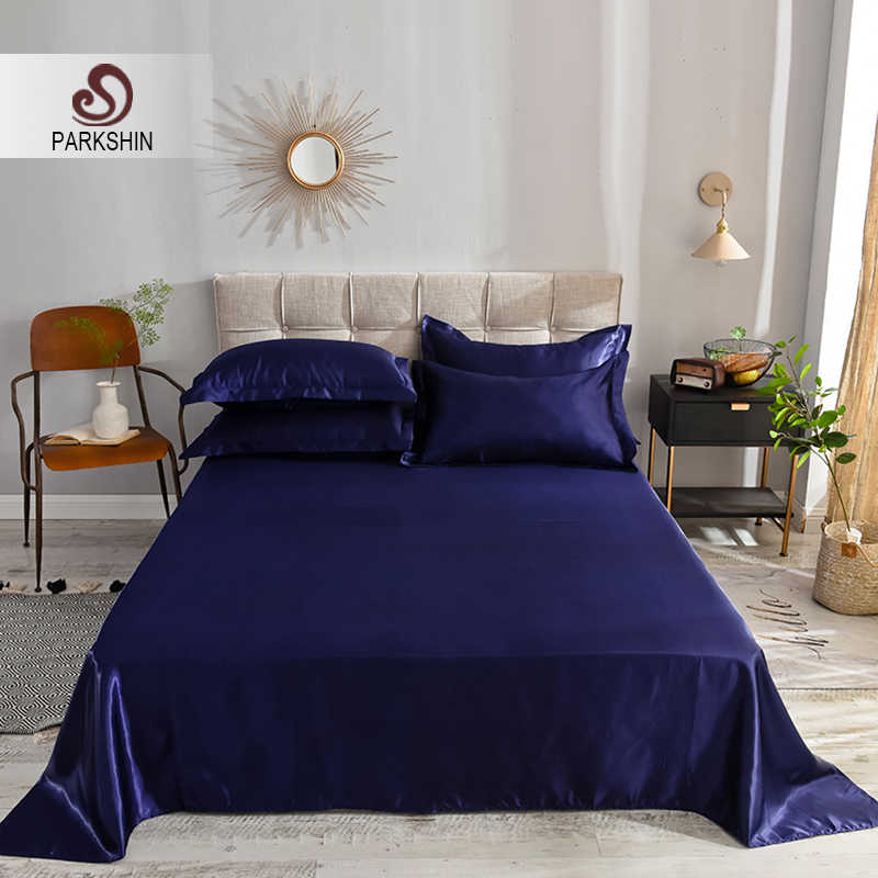 Parkshin 1PCS 12 Solid Color Dark Blue Flat Sheet 100% Pure Silk Bedding Linen European Style Silky Bed Sheet Home Textiles