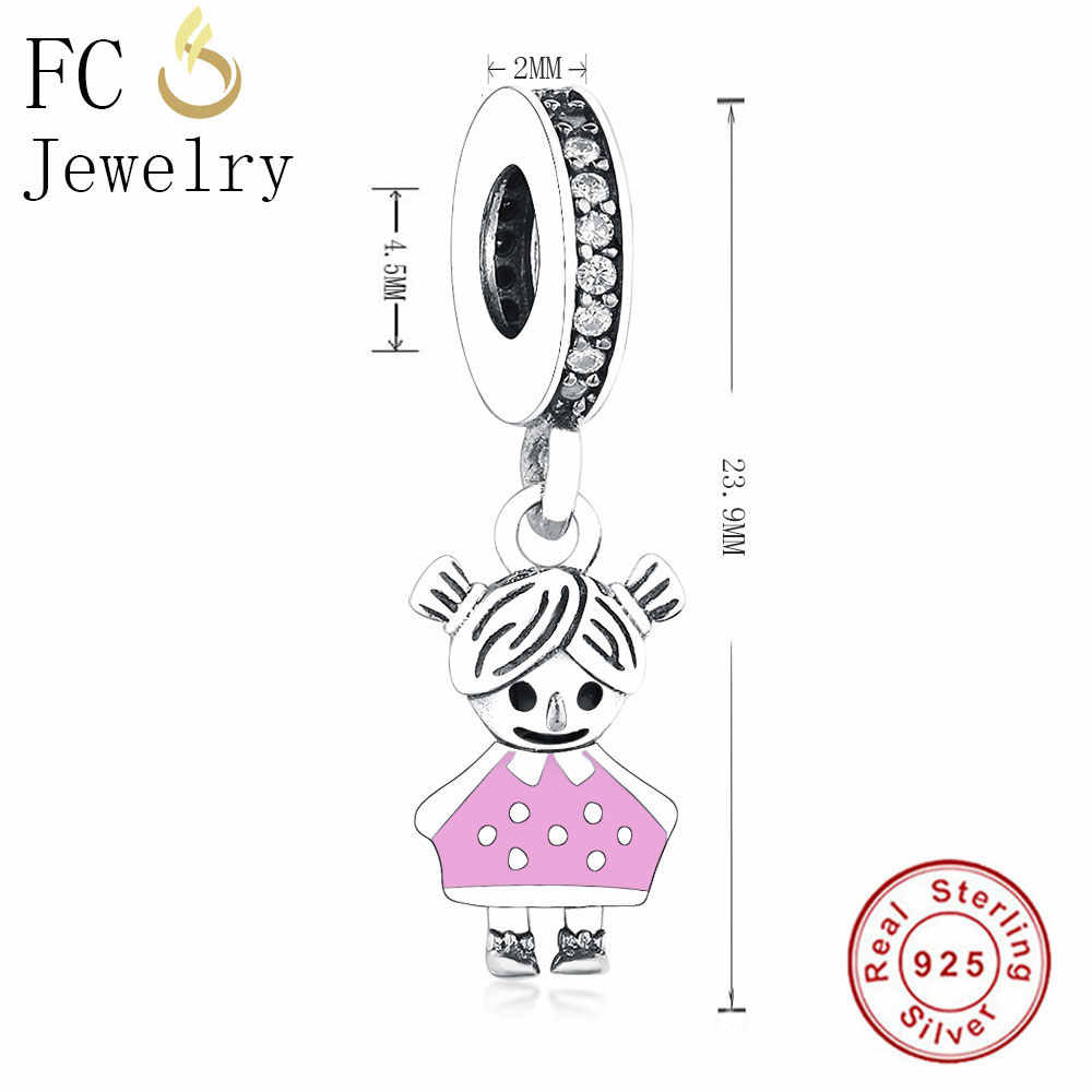cdf5adb15 ... Fit Original Pandora Charms Bracelet & Necklaces 925 Sterling Silver  Beads Charm Couple Little Cute Girl ...