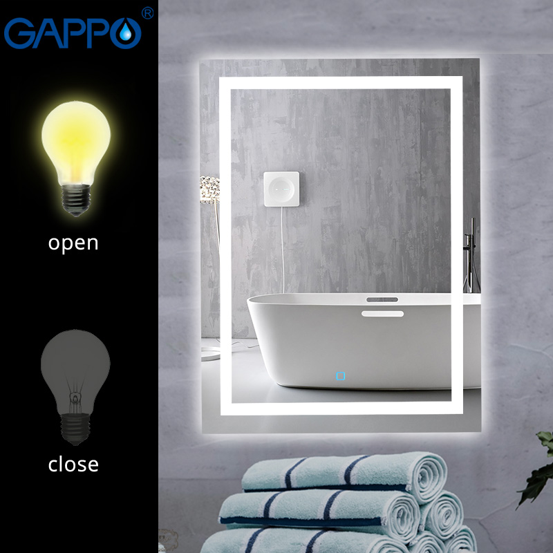 Gappo espelhos banho LEVOU Luz luzes do Espelho de Maquiagem espelhos espelhos Do Banheiro retângulo
