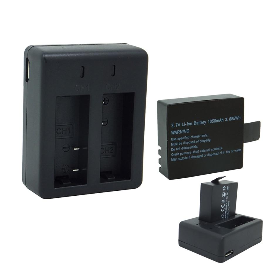 1050 mah carregador de Bateria com porta Dupla, 3.7 v Li-ion Recarregável de Backup Para SJCAM SJ4000 SJ5000 Vefly Câmera Esporte ação DV cam