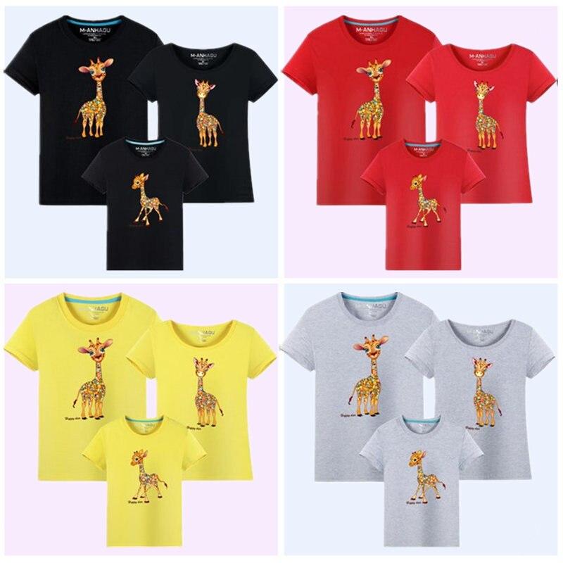 MANHAGU Marka 1 parça Ailə Baxan Heyvanlar Giraffe Köynəkləri - Uşaq geyimləri - Fotoqrafiya 4