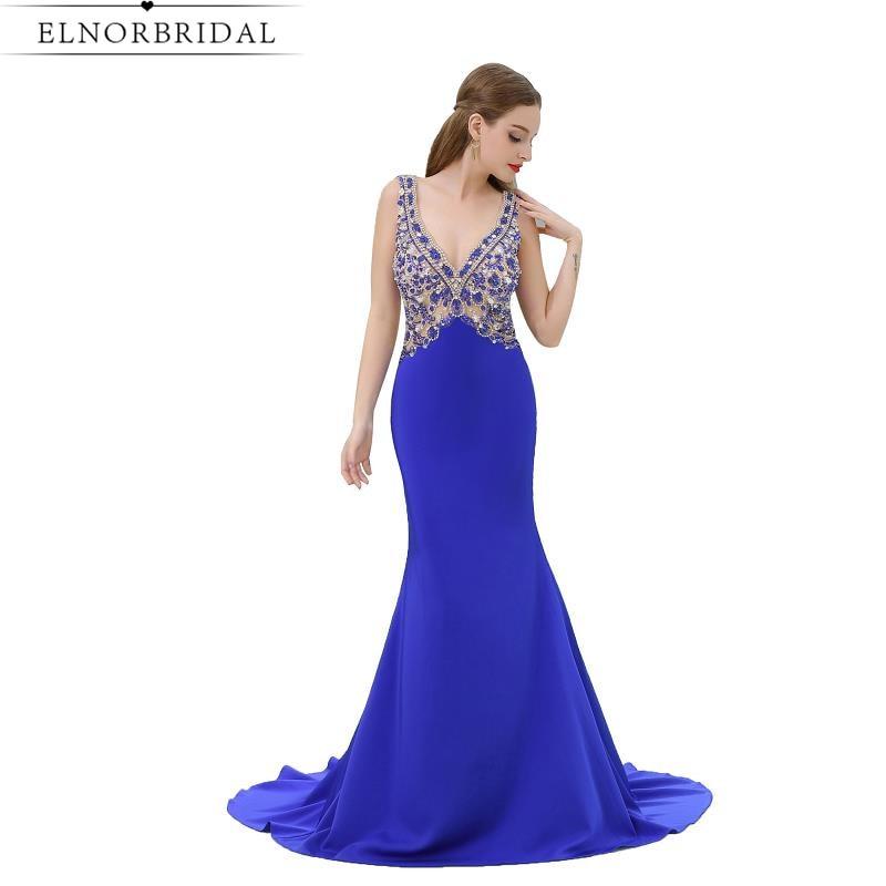 42e6d2b9966 Royal Blue Mermaid Evening Dresses 2019 Open Back Vestido De Festa Deep v  Neck Long Prom Dress Formal Party Gowns