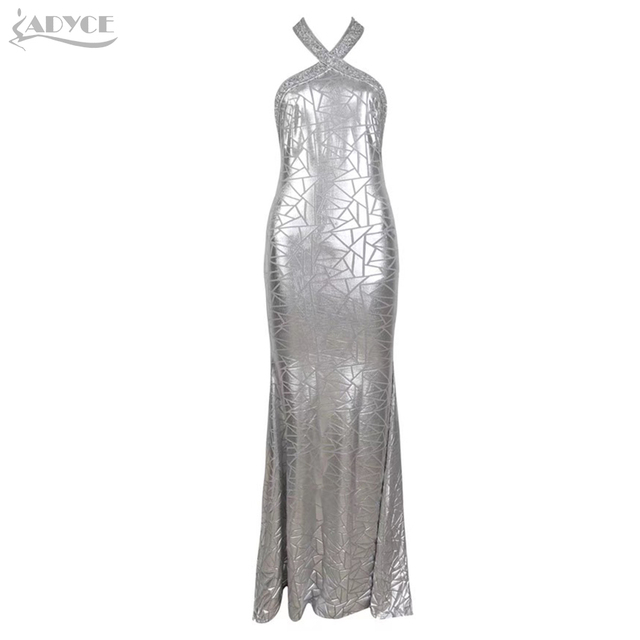 Adyce 2019 New Summer Sequined Celebrity Evening Party Dress Women Vestidos Sexy Halter Silver Backless Sleeveless Club Dresses 1