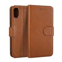 Para el iphone X i8 caso del tirón litchi Patrón de cuero de vaca Genuino tpu soporte monedero caso de la cubierta del teléfono móvil Para iphoneX cosas