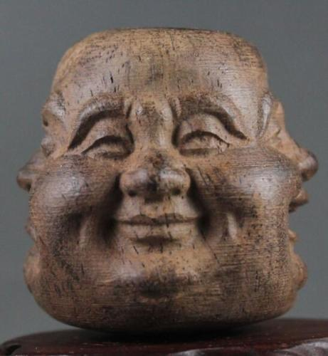 Elaborate Chinese Decorative Manual Wooden Four Faces Buddhism Buddha Head Statue