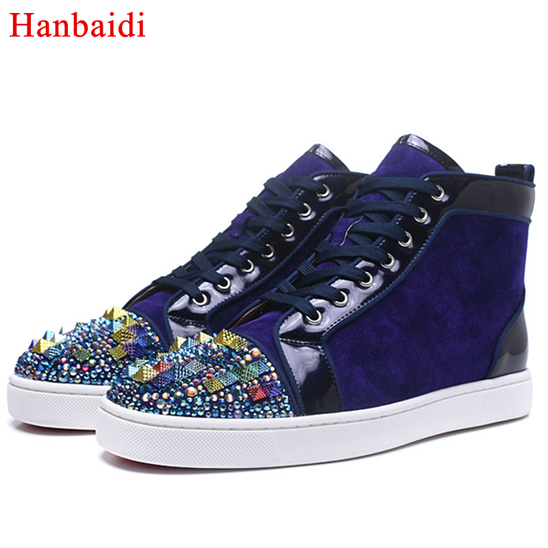 Hanbaidi Mens Casual Shoes Luxury Colorful Rhinestone High Top Shoes Fashion Spring Autumn Round Toe Street Men Sneakers Shoes hanbaidi luxury handmade string beads mens sneakers runway genuine leather white low top mens casual shoes round toe flats men