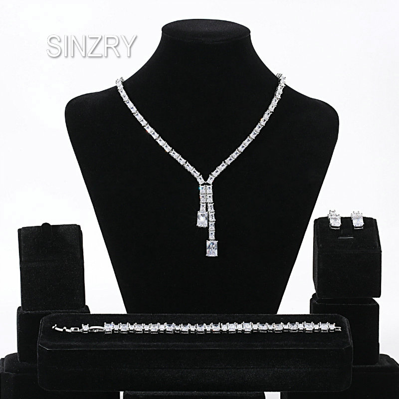 SINZRY party bridal jewelry set 3pcs cubic zirconia Luxury geometry chokers necklace earring bracelet wedding jewelry sets SINZRY party bridal jewelry set 3pcs cubic zirconia Luxury geometry chokers necklace earring bracelet wedding jewelry sets
