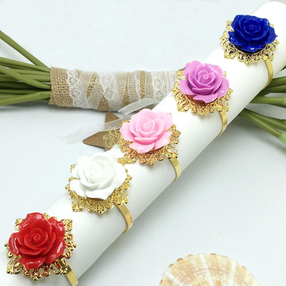50pcs Lot Rose Flower Decor Gold Napkin Ring Hoops Napkin