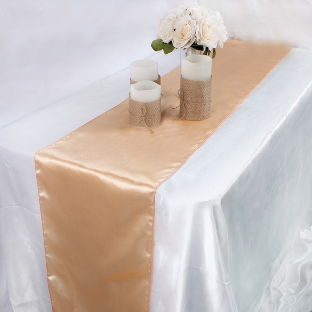 Image 5 - OurWarm 30cm*275cm Wedding Table Runner Satin Table Runners Table Decoration For Home Party Wedding Event Favors Banquet Decor-in Table Runners from Home & Garden