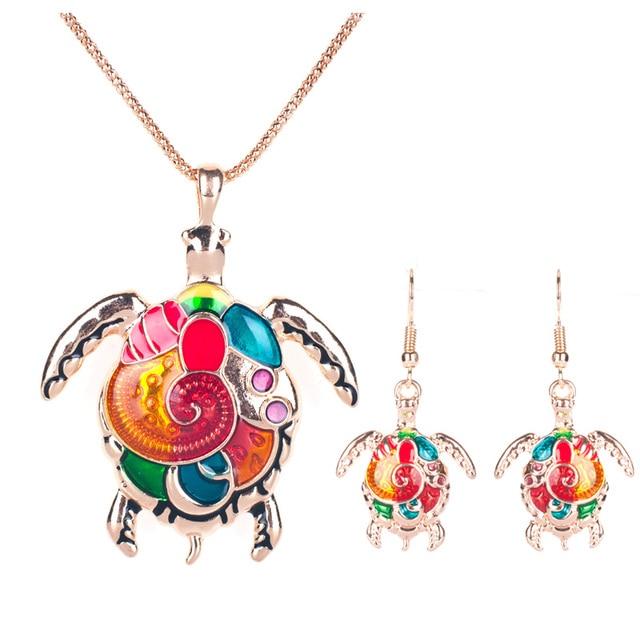 Women's Enamel Turtle Necklace and Earrings Set 2